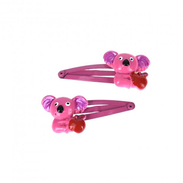 Koala maci almával hajcsat, pink