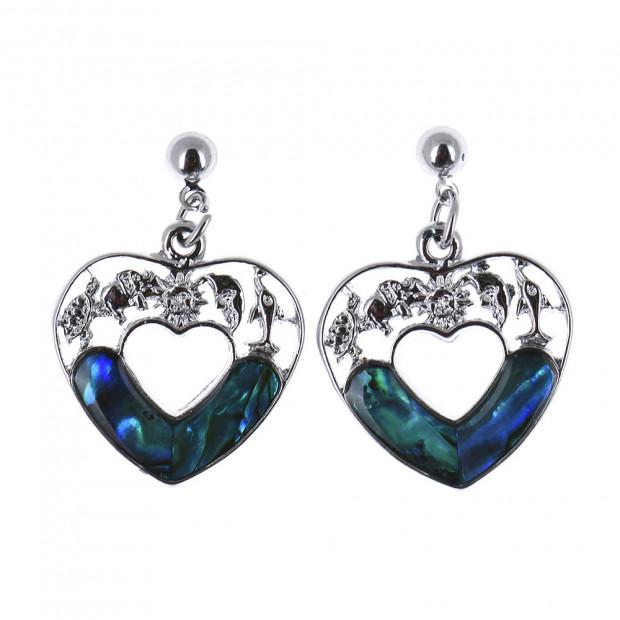 Opál köves szív alakú fülbevaló