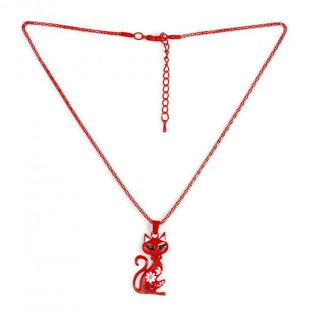 Kiscicás nyaklánc, piros
