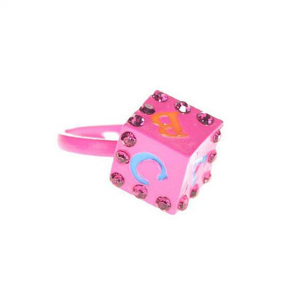 Kocka ABC gyűrű - pink