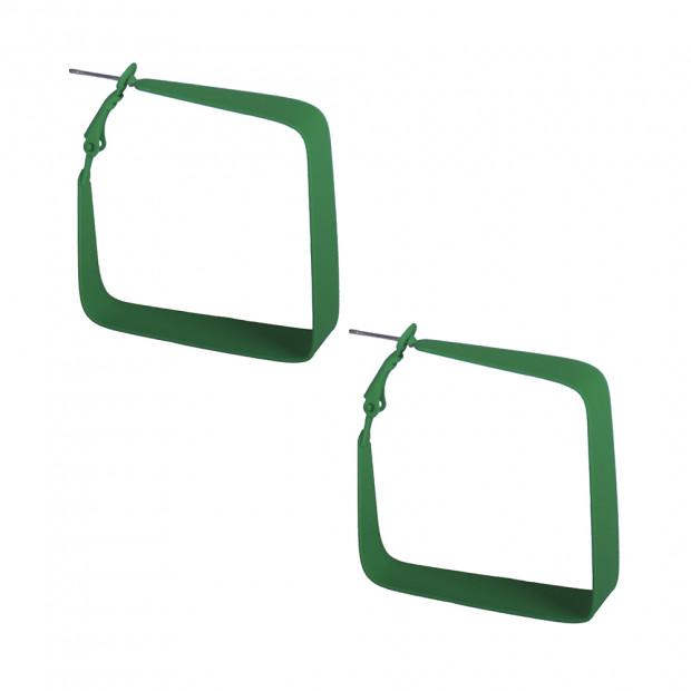 Négyzet karika 2 fülbevaló, zöld