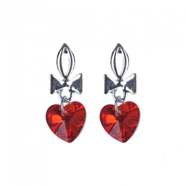 Mini heart fülbevaló, piros