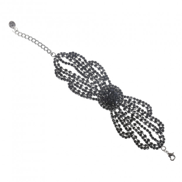 Fekete strassz karkötő