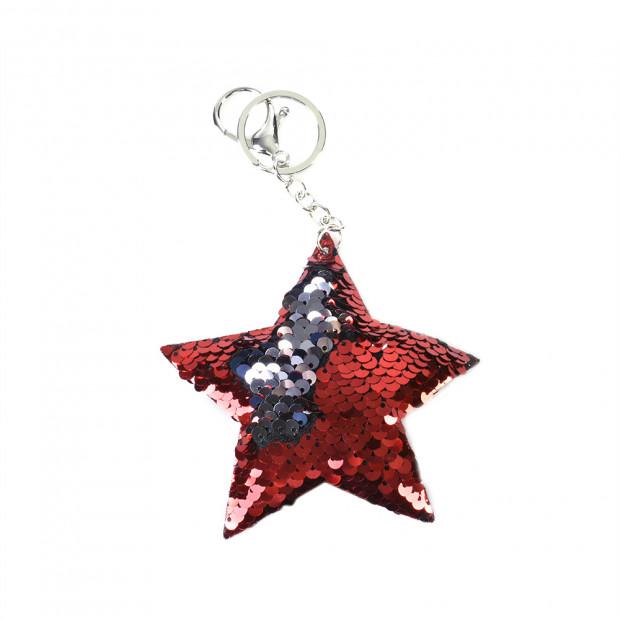 Star flitteres kulcstartó, piros