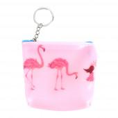Plasty flamingó pénztárca/kulcstartó, kék