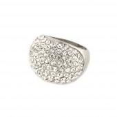 Félgömb ezüst pecsétgyűrű, fehér kövekke