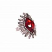 Csiszolt rombuszvirág gyűrű, piros