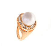 Strasszos gyöngyszem gyűrű, fehér