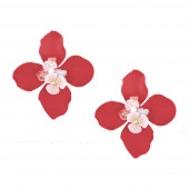 Nagy virág fülbevaló, piros