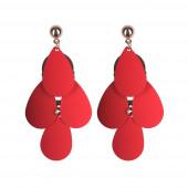 Lilien egyszínű fülbevaló, piros