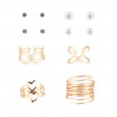 Heart/Spiral gyűrű+ fülbevaló szett