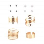 Bloom/Spiral gyűrű+ fülbevaló szett