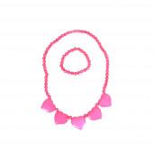Pink szivek nyaklánc szett, karkötővel
