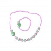 Eperke nyaklánc szett, karkötővel, zöld