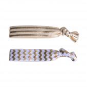 Wave karkötő/hajgumi pár, fehér-arany