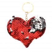 Flitteres szív kulcstartó