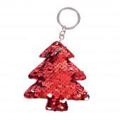 Flitteres fenyőfa kulcstartó, piros