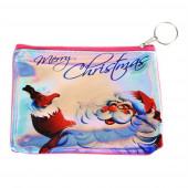 Télapó Merry Christmas felirattal pénztárca/kulcstartó