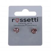 Swarovski kristály pötty fülbevaló, közepes, halványrózsaszín