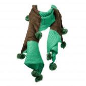 Kötött bojtos sál, zöld