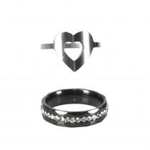 Strassz és szív gyűrű páros, 19 mm